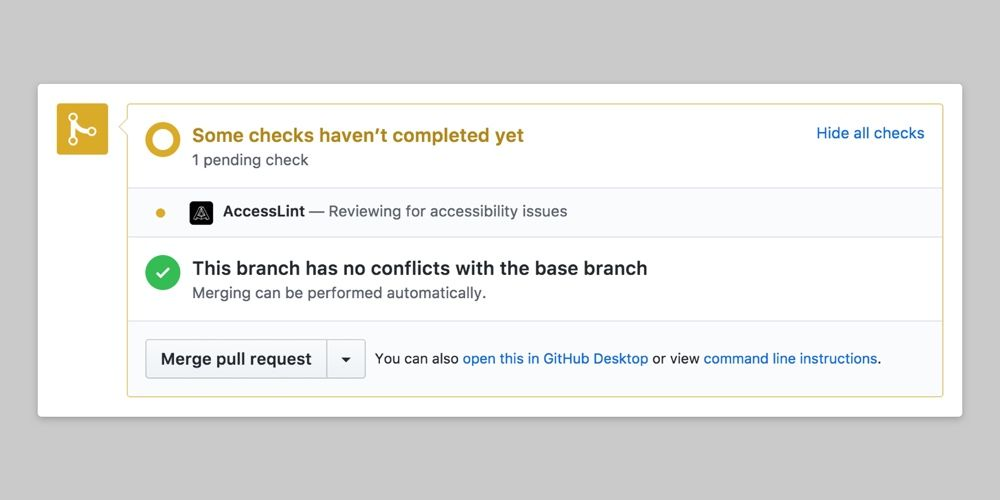 GitHub Pull Request dashboard showing a pending check for AccessLint review