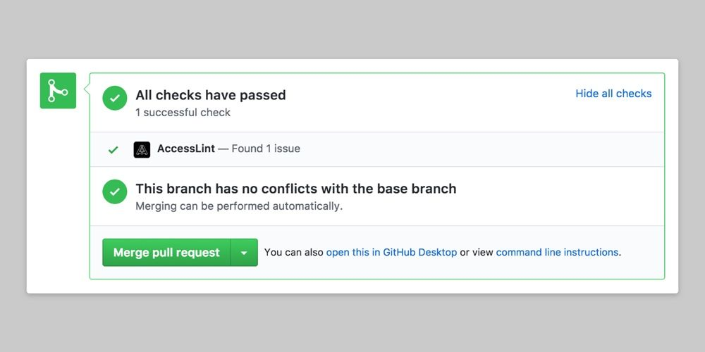 GitHub Pull Request dashboard showing AccessLint review comments with a success status